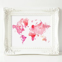 "Printable World Map, Pink Watercolor, 8x10"" INSTANT DOWNLOAD"