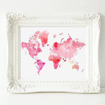 """Printable World Map, Pink Watercolor, 8x10"""" INSTANT DOWNLOAD"""