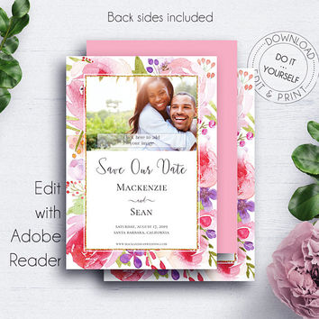 Blush Save the Date Photo Card, Invitations, Rose, Bohemian Wedding, Blush, Watercolor, Engagement, Save Our Dates, Photocard Template