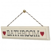 Rustic Wooden Bathroom Sign