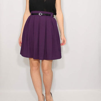 Purple skirt High waist skirt Short skirt with pockets