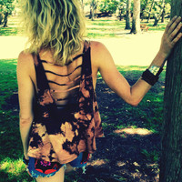 Crop Top Tank Tie Dyed, BROWN Boho Hippie