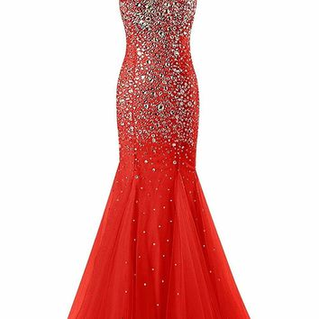 Luxury Mermaid Prom Dress Red Long Evening Dress Tank Sleeveless Floor Length Tulle Bow Sexy backless Formal Party Gowns
