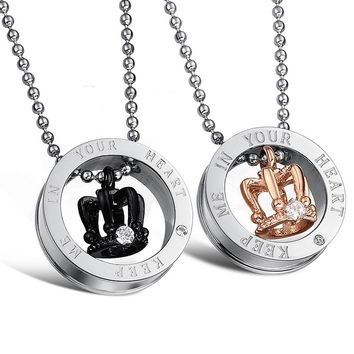 Cool King & Queen Couple Necklace Glossy Titanium Steel Crown Pendant Necklace Girlfriend Boyfriend Romantic Birthday Gift Hot SaleAT_93_12