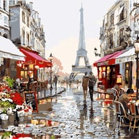Frameless Picture DIY Digital Oil Painting Paint By Number Christmas Birthday Gifts 40x50cm Paris street DL076