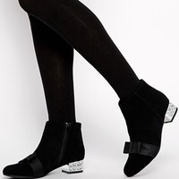 KG by Kurt Geiger Solo Black Suede Bow Ankle Boots