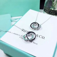 Tiffany & Co Fashion New Two Circle Women Sterling Silver Necklace Silver