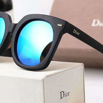 DIOR Stylish Ladies Men Personality  Logo Letter Summer Sun Shades Eyeglasses Glasses Sunglasses(5-Color) Blue I-A-SDYJ