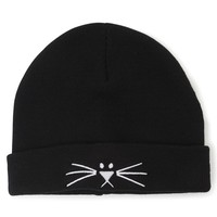 With Love From CA Cat Whisker Foldover Beanie - Womens Hat - Black - One