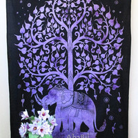 Purple Elephant Tapestry, Twin Tapestry Wall Hanging, Indian Bedspread Hippie Tapestry Bohemian Throw Ethnic Home Decorative Art