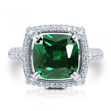 Cushion Cut Emerald CZ 925 Sterling Silver Halo Cocktail Ring 3.87 Ct #r669