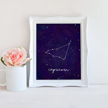 Capricorn Zodiac Constellation Horoscope Watercolor Printable Sign, Stars Night Sky, Printable Digital Wall Art Template, Instant Download