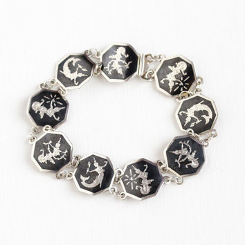 Vintage Sterling Silver Siam Ramakien Niello Bracelet - Siamese Goddess Thai Black Nielloware Hexagonal Panel Unique Statement Jewelry