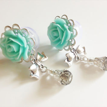 "Girly Rose Plugs 00g Dangle Plugs with Bows 1/2 inch, 9/16"" (14mm) Ear Plugs Body Jewelry Gauges with Dangles Choose From 20 Colors"