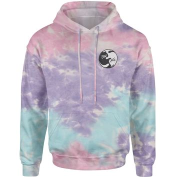 Embroidered Yin Yang Cats Patch (Pocket Print) Tie-Dye Adult Hoodie Sweatshirt