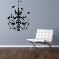 "Chandelier and Birds Room Vinyl Wall Decal Graphics 30""x22"" SMALL Bedroom Decor"