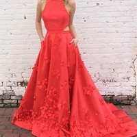 A Line High Neck 3D Flower Red Long Prom Dress
