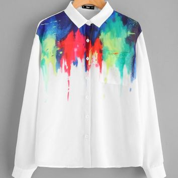 Pocket Front Painting Print Blouse