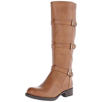 Franco Sarto Womens Petite Faux Leather Buckle Riding Boots