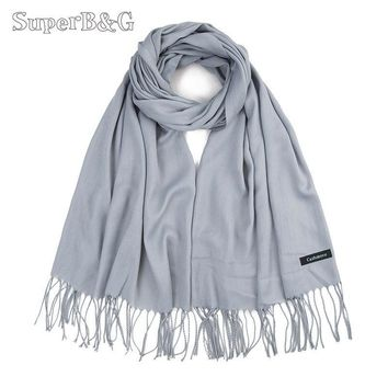 SuperB&G 2018 Solid Warm Winter Scarves Pashmina Lady Scraf Shawls Wraps Bandana Long Soft Echarpe Foulard Cachecol 170CM*65CM