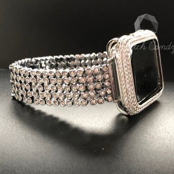 Apple Watch Band 38mm 42mm Series 1,2,3 Women's Silver Rhinestone Cystal Band Crystal Sparkles Like Diamonds Loaded Bling