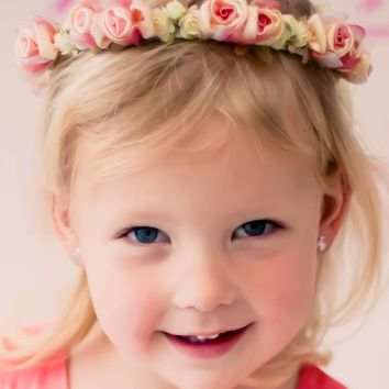 Coral Floral Crown Wreath Handmade with Silk Flowers & Back Satin Bows (Girls)
