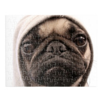 "Pug Wearing Hoodie 9.5"" x 7.5"" Rectangular Jigsaw Puzzle - Rectangular Custom Jigsaw Puzzles"