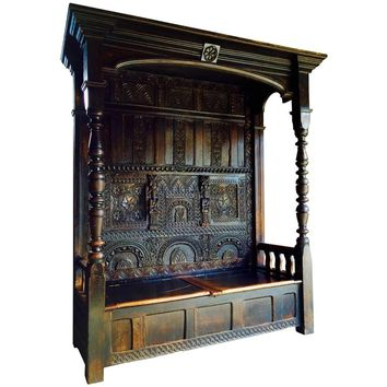 Stunning Antique Canopy Settle Bench Charles I Heavily Carved Oak, 17th Century