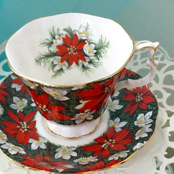 Royal Albert South Pacific Tea Cups, Christmas China Tea Cup, Pointsettia Flower, Vintage Teacup and Saucer, Red, Christmas Gift