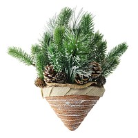 "12"" Iced Pine Cones and Branch Tips in Burlap Basket Hanging Christmas Decoration"