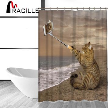Miracille Cute Cat Printed Shower Curtain Waterproof Polyester Fabric With 12 Plastic Hooks