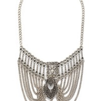 Etched Chain Statement Necklace