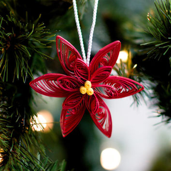 Poinsettia Ornament - Christmas Ornament - Paper Ornament - Quilled Ornament - Paper Quilling