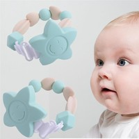 Quality Silicone Baby Teething Beads Soother Chain with Clips for Boys or Girls  Flower Chewable Toddler Infant Teething Toys