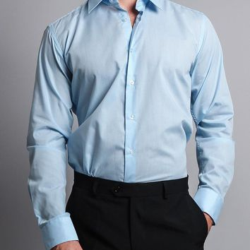 Men's Slim Fit Solid Color Dress Shirt (Sky Blue)