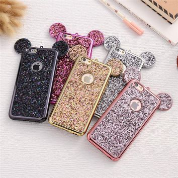 Mickey Mouse Phone Case For iPhone 6 6S 7 8 Plus 5 5S SE  Shell Glitter plating soft Silicon full Cover Cases For iPhone X case