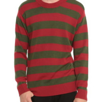 Red And Olive Green Striped Sweater
