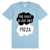The Fault in our Diet : Pizza-Unisex Light Blue T-Shirt