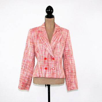 Double Breasted Blazer Jacket Women Spring Jacket Pink Tweed Jacket Medium Size 10 Jacket Chadwick's Vintage Clothing Womens Clothing