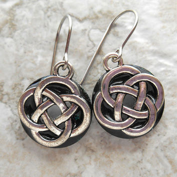 celtic knot earrings: black - dangle earrings - irish earrings - celtic jewelry - endless knot - unique gift - mothers day