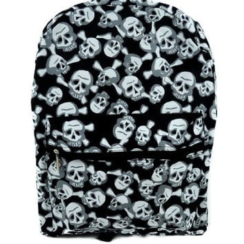 Black and White Skull w/ Cross Bones Backpack School Bag