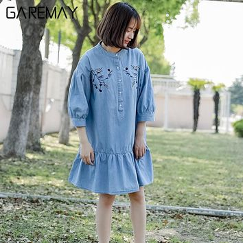 Floral Embroidered Denim Shirt Blouse Summer Women Blusa Jeans Half Puff Sleeve Summer Tops Ruffles Blouse Shirt Ladies GAREMAY
