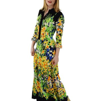 70s Mr. Dino Mod Floral Jersey Maxi Dress-M