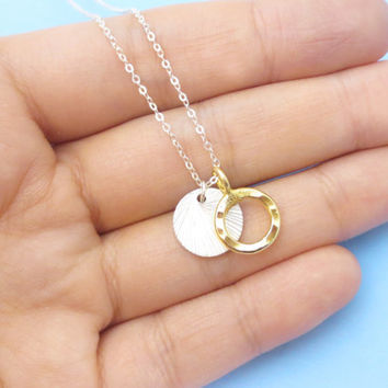 Gold filled, Ring, Sterling silver, Hammered, Coin, Silver, Chain, Necklace, Modern, Beautiful, Jewelry, Birthday, Lovers, Friends, Gift
