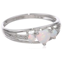 Sterling Silver, Created Opal, and Diamond Three-Heart Ring, Size 8