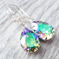 Paradise Prism Swarovski Crystal Drop Earrings, Rainbow Rhinestone Pear Earrings, Sterling Silver Teardrops, Gift for Her, Crystal Jewelry
