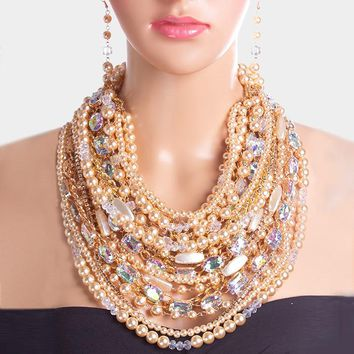 Dramatic Multi Strand Crystal Pearl Statement Necklace