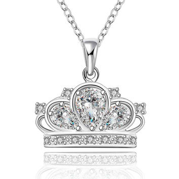 silver plated Chain big shine crown Necklaces Pendants Men jewelry 579 MP