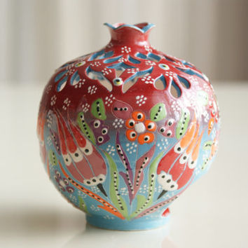Handmade and Hand Painted Red Pomegranate Candleholder