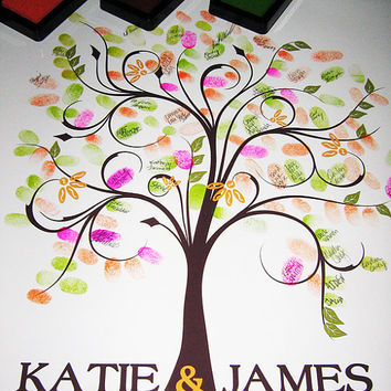 WEDDING GUESTBOOK TREE, guestbook wedding tree, spring wedding tree, Thumbprint guest book tree, Stamp Tree guest book, 20x24, num. 100